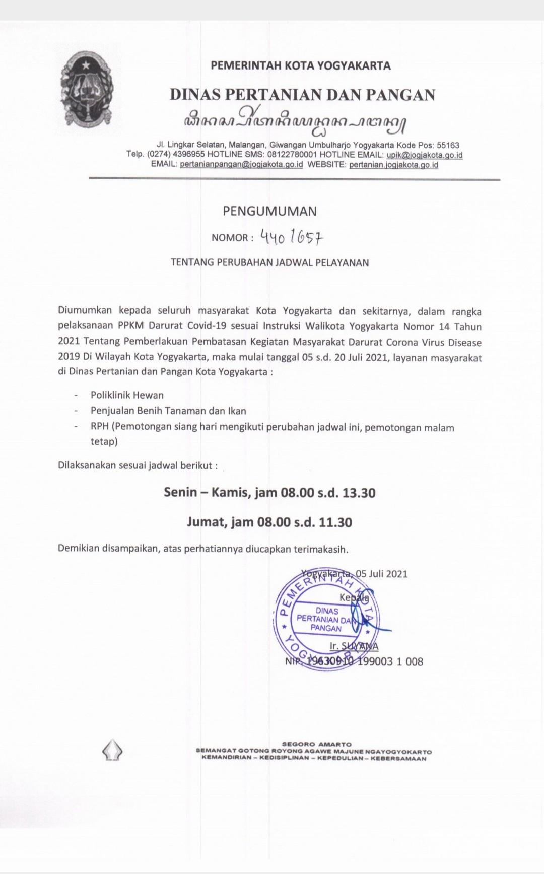 Perubahan Jadwal Pelayanan Selama PPKM Darurat Covid-19